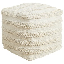 Natural White Looped Wool Ottoman