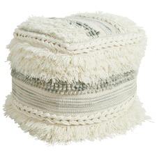 White & Sea Green Soft Textured Wool Ottoman