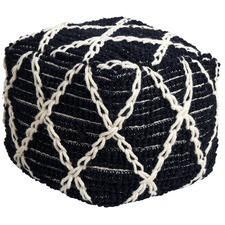 Black & White Modern Boho Wool Ottoman