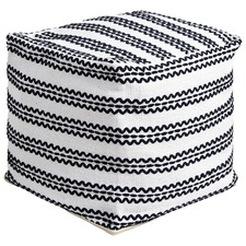 White & Black Zig Zag Cotton Ottoman
