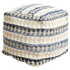 White & Denim Stripy Wool Ottoman