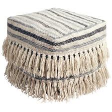 Bone Fringed Wool Ottoman