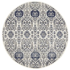 Irtish Navy & Grey Power Loomed Modern Round Rug