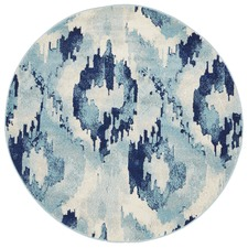 Kioga Blue Ikat Power Loomed Modern Round Rug