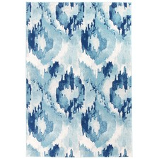Kioga Blue Ikat Power Loomed Modern Rug