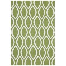 Green Flat Weave Oval Print Wool Rug