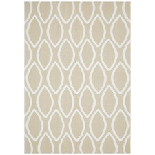 Bone Flat Weave Oval Print Wool Rug