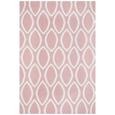 Soft Pink Flat Weave Oval Print Wool Rug