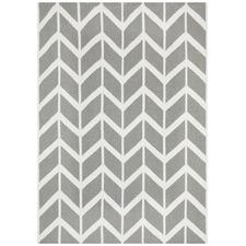 Chevron Flat Weave Rug Grey