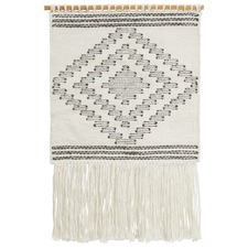 White Scandi Flatwoven Fringed Wall Hanging
