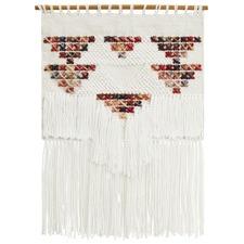 Multi Scandi Textured Fringed Wall Hanging