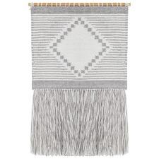 Dove Scandi Flatwoven Fringed Wall Hanging