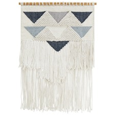 Blue Scandi Textured Fringed Wall Hanging