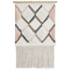 Pink Scandi Textured Fringed Wall Hanging