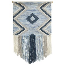 Blue Scandi Flatwoven Fringed Wall Hanging