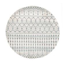 Round Bone White Moderne Salon Rug