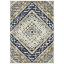 Navy & Ivory Diamond Vintage Look Rug