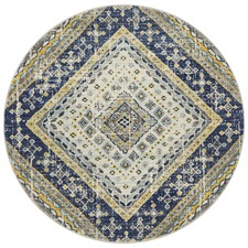 Navy & Ivory Diamond Vintage Look Round Rug