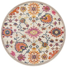 Multi-coloured Wildflower Vintage Look Round Rug
