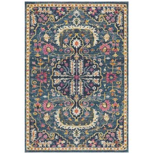 Navy Wreath Vintage Look Rug