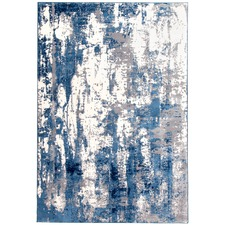 Blue Abstract Wash Power Loomed Rug