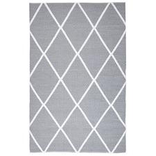 Grey Geometric Flat Woven Rug