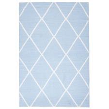 Blue Geometric Flat Woven Rug
