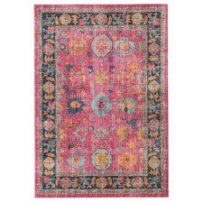 Pink Vintage Look Power Loomed Cotton Blend Rug