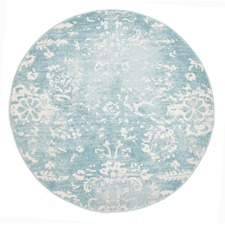 Blue Vintage Look Power Loomed Round Rug