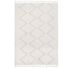 Ivory & Pink Buchra Fringed Rug