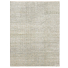 Powder Blue Diamond Vintage Hand-Knotted Wool Rug