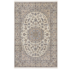 Cream & Blue Naen Vintage Hand-Knotted Wool Rug