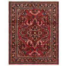 Red Kolyaei Vintage Hand-Knotted Wool Rug