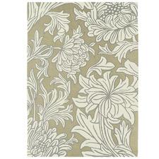 Cream Chrysanthemum Hand-Tufted Wool Rug