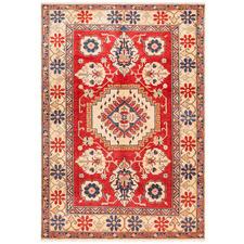 Red & Cream Wool Kazak Rug