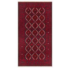 Red & White Wool Balouchi Rug