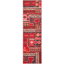 Red & Cream Wool Persian Patchwork Rug