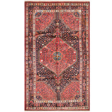 Salmon & Navy Wool Persian Toyserkan Rug