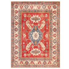 Cream & Red Hand-Knotted Wool Kazak Rug