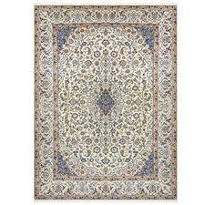 Cream & Blue Nain Wool Persian Rug