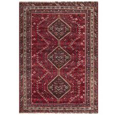 Red & Brown Wool Persian Shiraz Rug