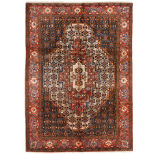 Salmon & Tan Wool Persian Senneh Rug