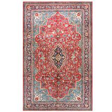 Red & Blue Wool Persian Sarouk Rug