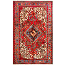 Red & Cream Wool Nahavand Rug