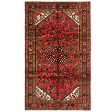 Red & Brown Hosseinabad Wool Persian Rug