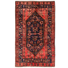 Rose & Navy Wool Persian Hamadan Rug