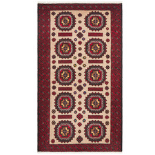 Red & Cream Wool Balouchi Rug