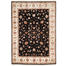 Black & Cream Wool & Silk Narayan Indian Rug