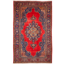 Red & Blue Wool Indian Rug