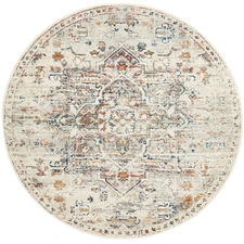 Silver Transitional Distressed Round Rug
